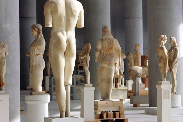 statues in acropolis museum in athens