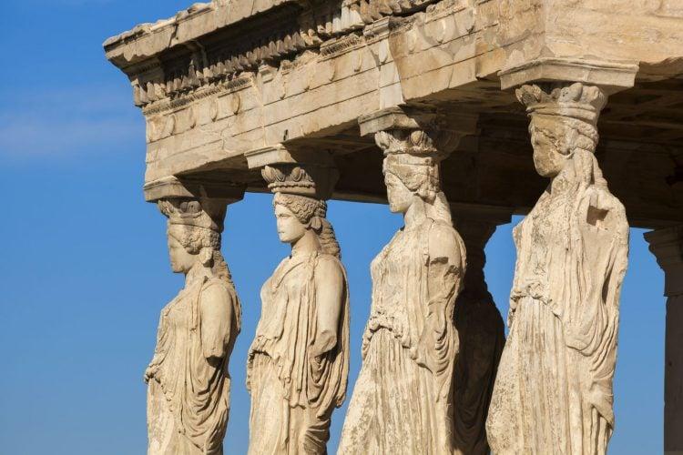 caryatides statues in parthenon acropolis athens