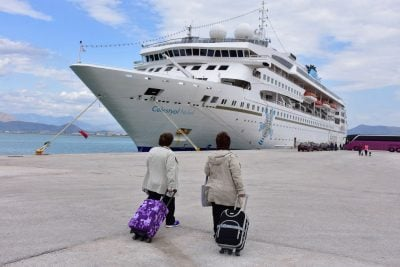 tourists in piraeus port
